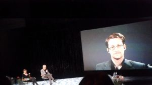 Edward Snowden at the conference